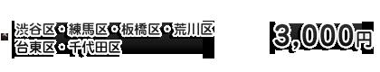 渋谷区・練馬区・板橋区・荒川区・台東区・千代田区 3,000円